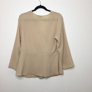 ASOS Tops - ASOS Long Sleeve V neck Blouse Nude Size XXL